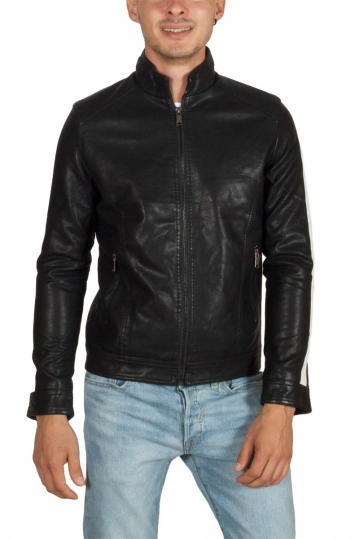 Just Boy leather-look biker jacket black with side stripe