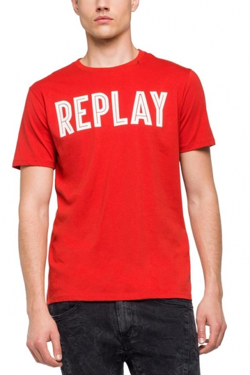 Replay rubberised logo t-shirt red