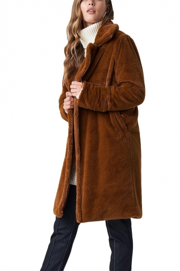 Rut & Circle Luna faux-fur coat brown