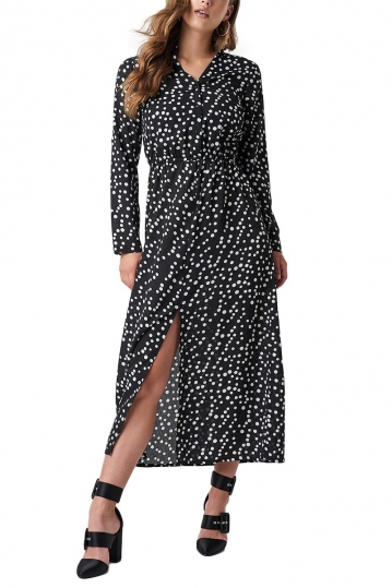 Rut & Circle long dress black with white dots