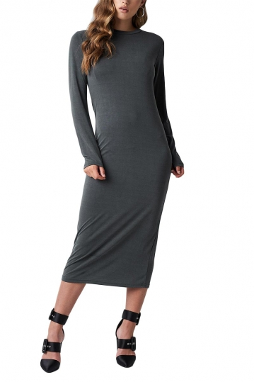 Rut & Circle Polo long sleeve midi dress grey