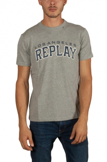 Replay jersey t-shirt Los Angeles γκρι μελανζέ