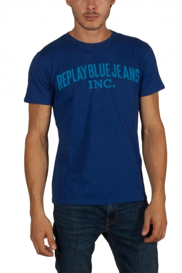 Replay cotton jersey t-shirt royal blue