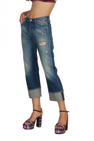 Replay Renalei cropped boy fit jeans blue