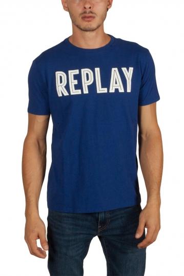 Replay rubberised logo t-shirt royal blue