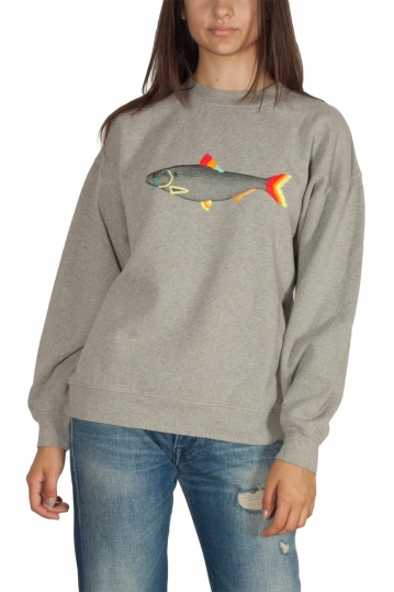 Thinking Mu Sad fish women's sweatshirt grey melange