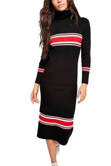 Free People sport stripe midi sweater dress black