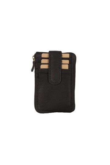 Hill Burry leather credit card key pouch black