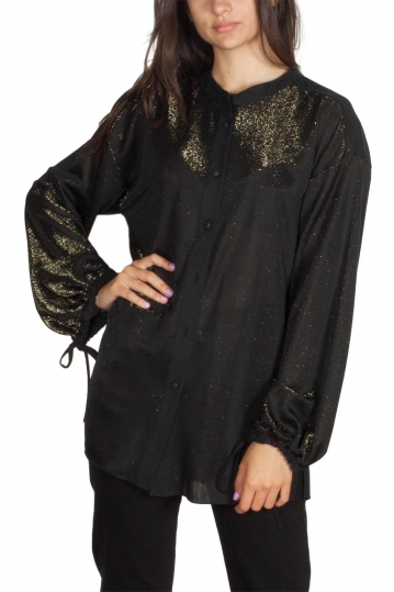 Lotus Eaters Mira bishop sleeve shirt black-gold