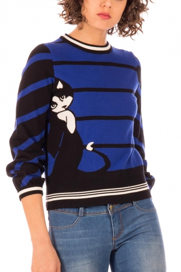 Minueto Cat sweater blue with stripes