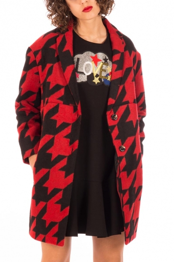 Minueto Love houndstooth coat red with back patch