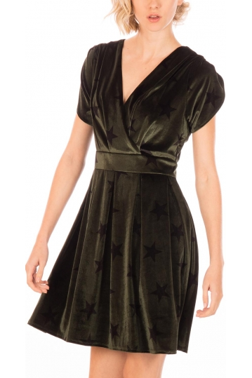Minueto velvet mni dress olive with stars