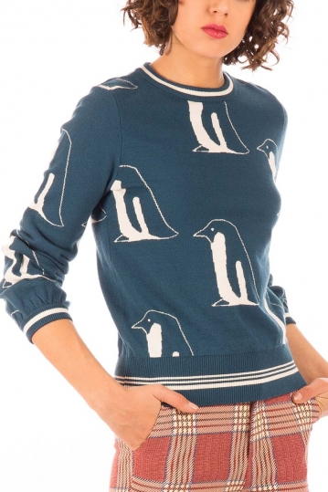 Minueto Penguin sweater blue