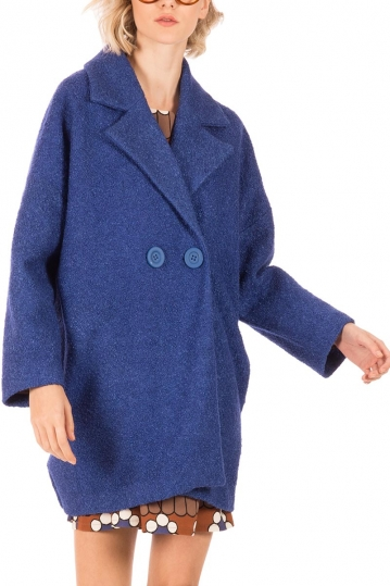 Minueto Rocket boucle coat royal blue with back patch