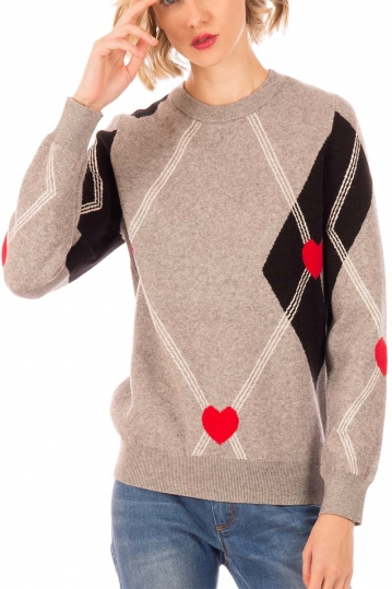 Minueto School jaquard sweater grey melange