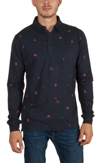 Thinking Mu Matisse leafs long sleeve polo navy