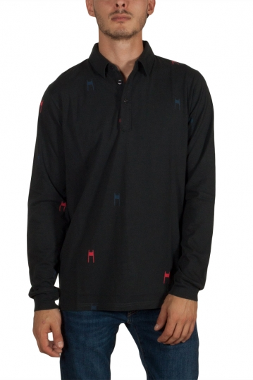 Thinking Mu Slalom long sleeve polo black