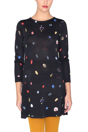 Pepaloves Amoeba knitting dress black with multi pattern
