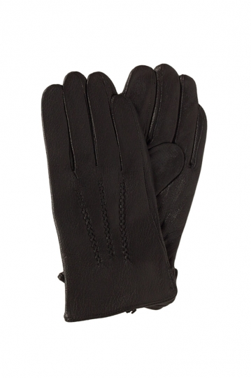 Men's knit lined leather gloves black