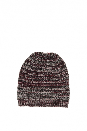 Men's beanie grey-bordeaux marl