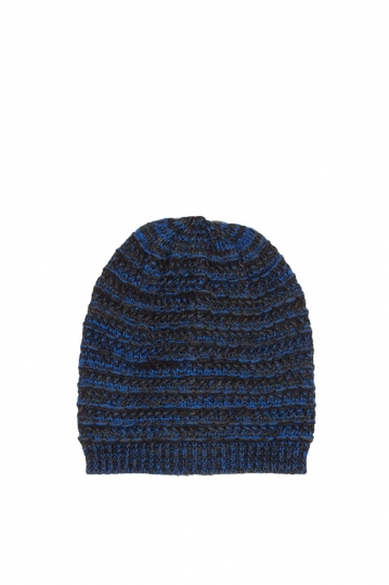 Men's beanie blue-black marl