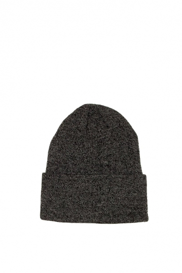 Men's beanie charcoal melange with wide turn up cuff