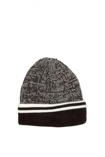 Men's fleece lined turn up beanie grey marl