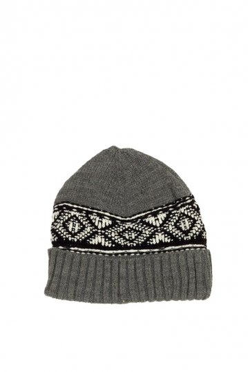 Men's turn up beanie grey with contrast pattern