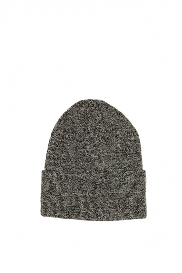 Men's beanie grey melange with wide turn up cuff