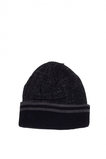 Men's fleece lined turn up beanie black marl