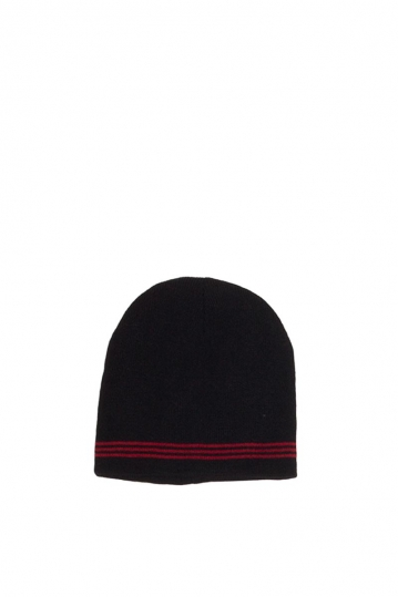 Men's beanie black with red stripes