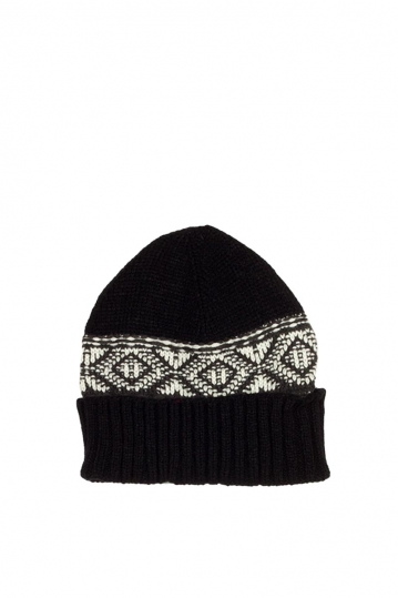 Men's turn up beanie black with contrast pattern
