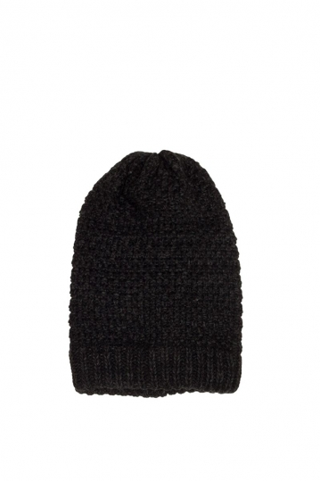 Long beanie black melange
