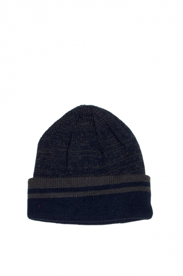Men's fleece lined turn up beanie blue marl