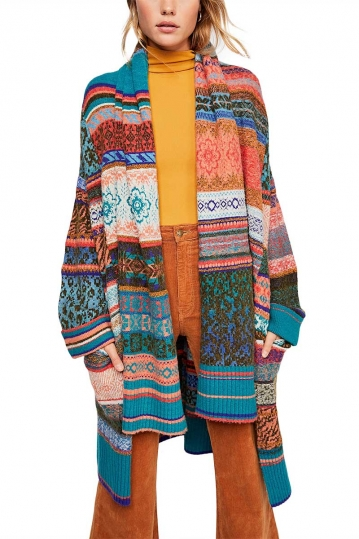 Free People Fantasia Fairisle cardi multi combo