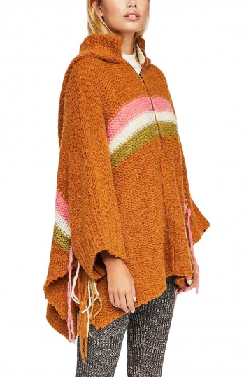 Free People Desert sunrise hooded poncho camel