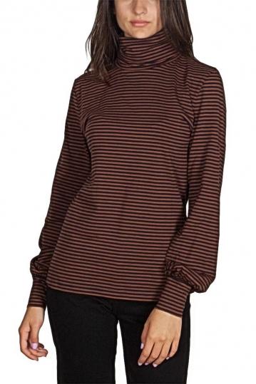 Minimum Arva turtleneck long sleeve tee blue-brown stripes