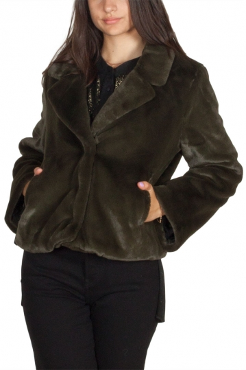 Minimum Kiss cropped faux fur jacket rosin