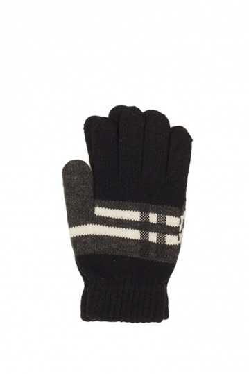 Knitted gloves black with contrast pattern