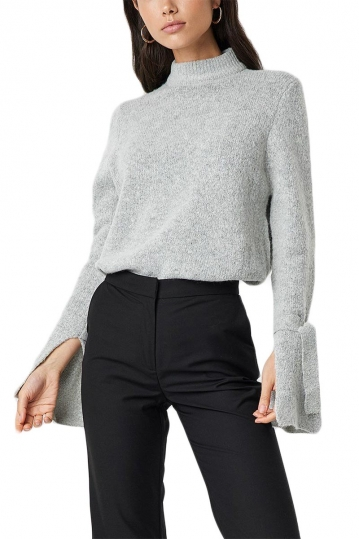 Rut & Circle Vera knot detail jumper grey melange
