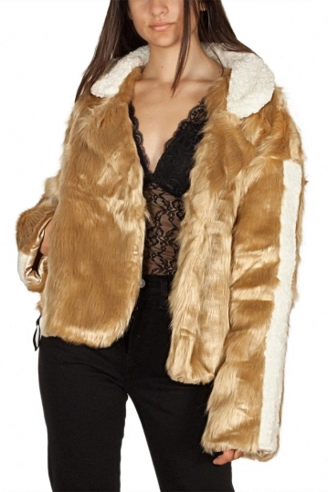 Story Of Lola Amber faux fur jacket camel