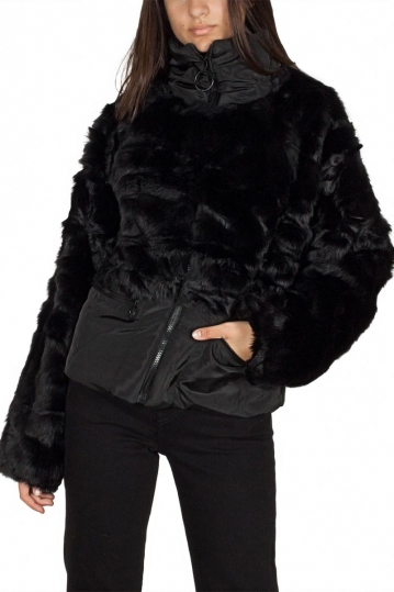 Story Of Lola faux fur jacket with contrast panel