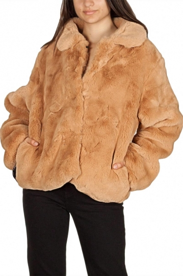 Story Of Lola Luna faux fur jacket camel