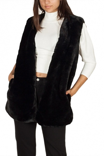 Story Of Lola faux fur gilet black