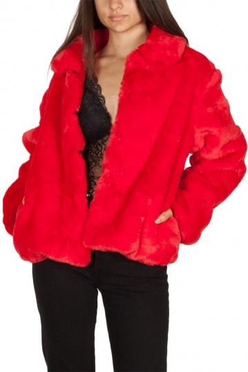 Story Of Lola Luna faux fur jacket red
