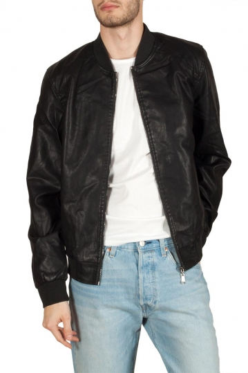 Men's leather-look bomber jacket black