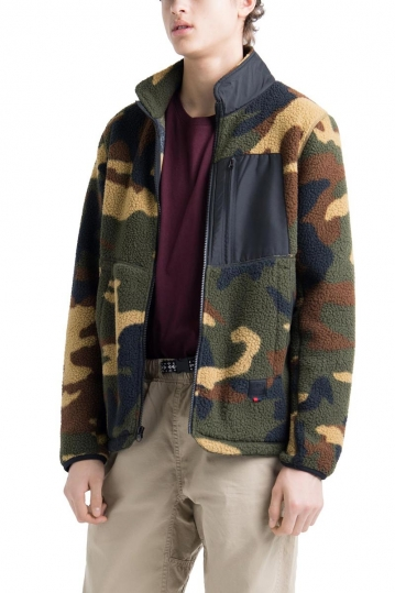 Herschel Supply Co. men's sherpa full zip jacket woodland camo