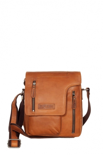 Hill Burry men's cross body leather bag brown with asymmetrical flap