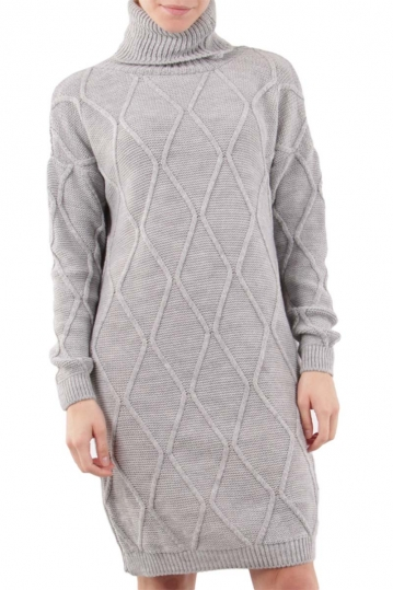 Turtleneck jumper dress grey