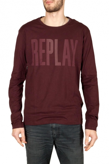 Replay long sleeved logo print t-shirt bordeaux